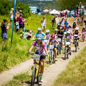 Little Bellas ride through crowds cheering at Beti Bike Bash