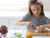 young girls preps healthy food