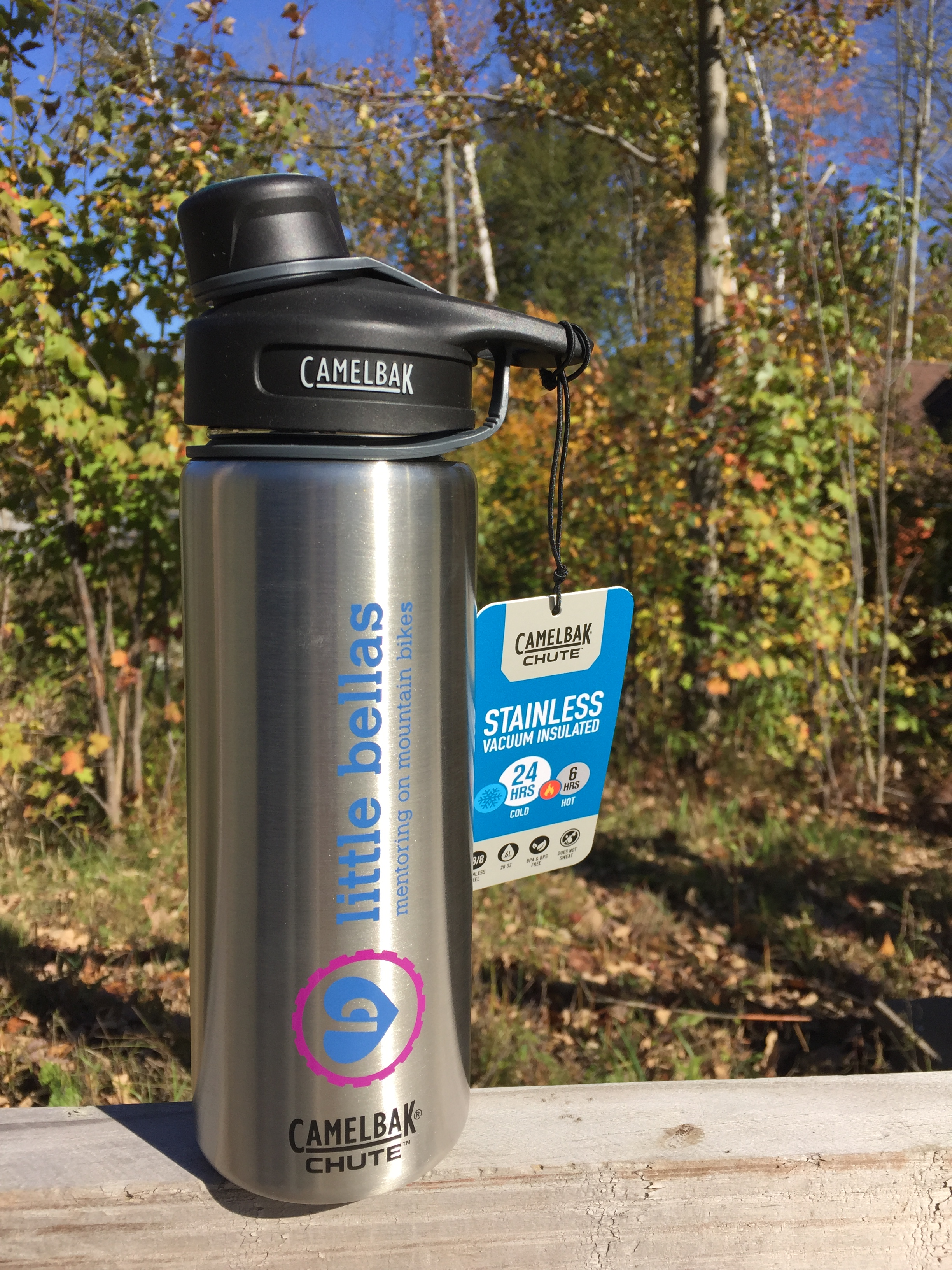 vacuum-insulated steel Chute® hydration container by CamelBak with Little Bellas logo